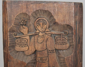 Vintage Hand Carving Wood Wall Hanging Plaque Woman With Folk Dress