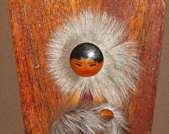 1972 Soviet Russian Wood Fur Figurine Wall Plaque