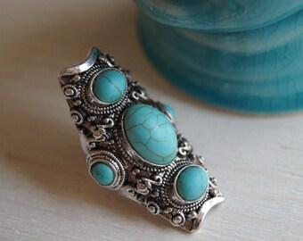 US size 7.5,Turquoise Ring, Boho Ring, Bohemian Ring, Yoga Ring, Reiki Jewelry, Tibetan Ring, Free People Handmade,