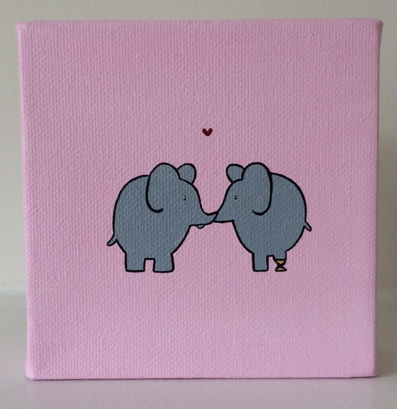 Elephant Love 4x4 acrylic painting on canvas two - photo#34