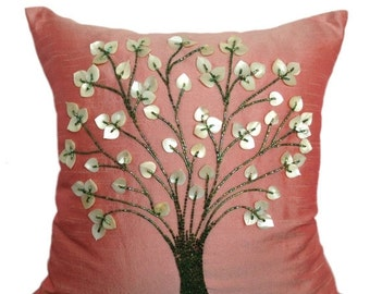 Blush Pillow Cover Beaded Tree of Life Pillow Blush Accent Pillow Tree Throw Pillow 14x14 16x16 18x18 20x20 inches