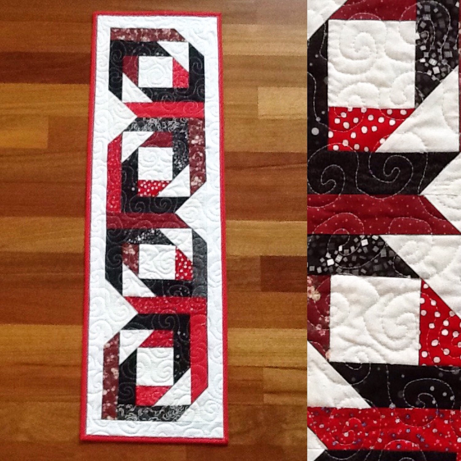 quilted black and red table runner 11 5 x 37 by sewingbyjanina. Black Bedroom Furniture Sets. Home Design Ideas
