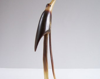 Carved bird in horn light sculpture made in a real horn vintage