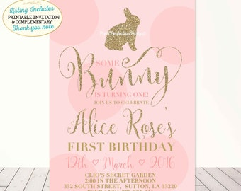 Bunny Birthday Invitation Gold and Pink Birthday Invitation Easter Birthday Invitation Bunny Birthday Bunny Party FREE THANK YOU card