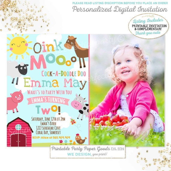Farm Invitation Girls Farm Invitation Pink Farm Invitation
