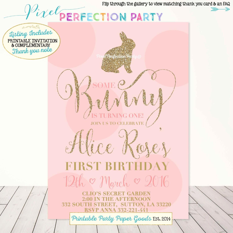 bunny birthday invitation gold and pink birthday invitation