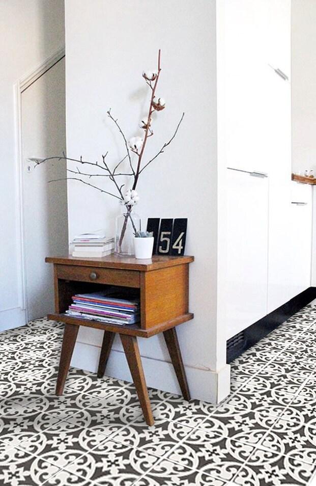vinyl floor tile sticker floor decals carreaux ciment encaustic citadel tile sticker pack in. Black Bedroom Furniture Sets. Home Design Ideas