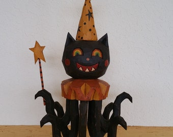 Octa-Puss Primitive Folk Art Woodcarving