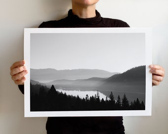 Donner Lake Fog Art Print, Tahoe Area Landscape California