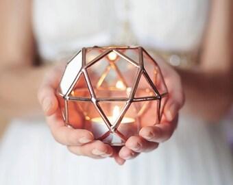 Glass Geometric Candle Holder, Wedding Lights, Copper Home Decor, Wedding Favors, Tealight Votive Holder, Ring Bearer Box, Glass Hurricanes