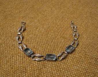 FINAL MARKDOWN Splendid Art Deco Silver Aquamarine Bracelet 11.6 Grams.