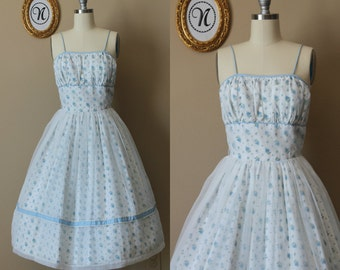 Vintage 1950s ~ 50s Blue Floral Summer Dress XS