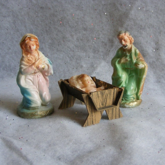 Vintage wax christmas nativity set mary joseph baby jesus in for Baby jesus christmas decoration