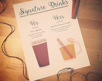 Signature Drink - Custom Drink Illustration Signs