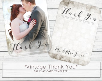 """5x7 """"Vintage Thank You"""" Flat Card Template"""