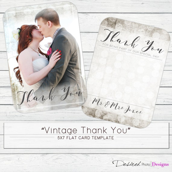 5x7 vintage thank you flat card template from desiredphotodesigns on etsy studio. Black Bedroom Furniture Sets. Home Design Ideas