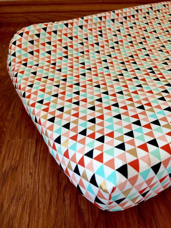 Gold nursery fit : Mint coral gold peach triangle fitted crib sheet by prissylemons