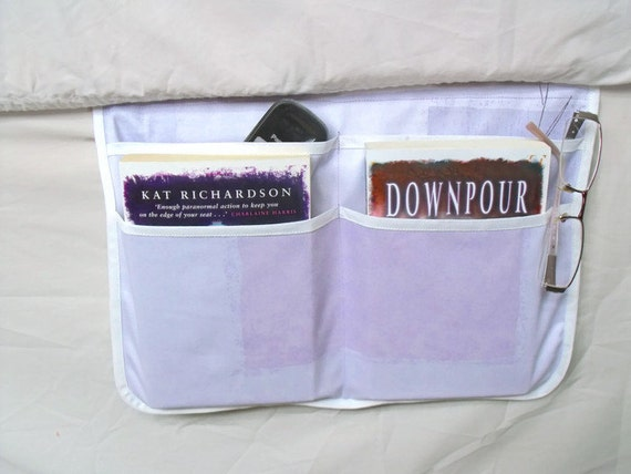 bed pocket, bed caddy, storage organizer, bed tidy, lilac bed organizer, bed storage