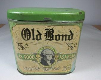Vintage Cigar Tin Vintage Advertising Tin Tobacciana Old Bond Cigar Tin Vintage Tin Vintage Collectable Tin