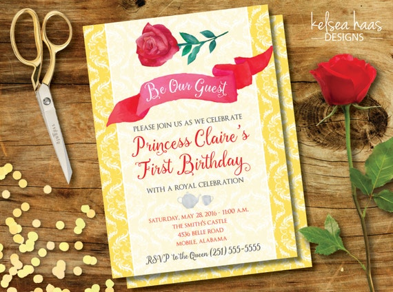 Be Our Guest Printable Invitation Beauty And The Beast Belle