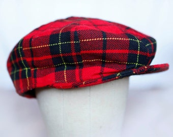 Shandon red black yellow plaid wool flat cap -  trouping the color Winnetka - newsboy cap