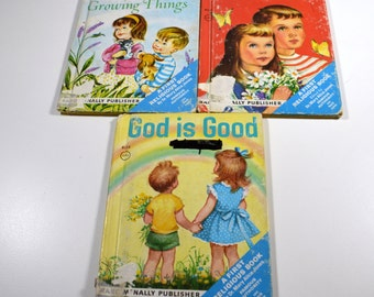 Vintage Children's Religious Books Lot of 3 1950s 1960s Rand McNally Publisher Ten Commandments God Is Good God's Plan for Growing Things