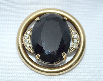 Vintage Victorian Rolled Gold Gold Filled Black Glass and Rhinestones Mourning Brooch