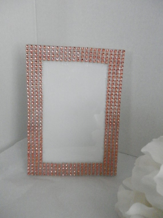wedding picture frame 5x7 rose gold color rhinestone picture. Black Bedroom Furniture Sets. Home Design Ideas