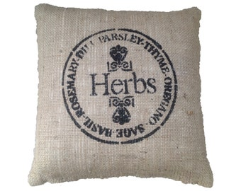 """French country style pillow cushion cover pillow case hand painted """"Herbs"""" made from rustic burlap hessian fabric home garden sofa lounge"""