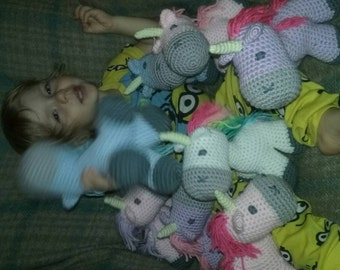 crochet unicorn plush toy - choose your colors