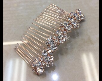 Rose Gold Rhinestone Hair Comb, Bridal Hair Accessories Style#04