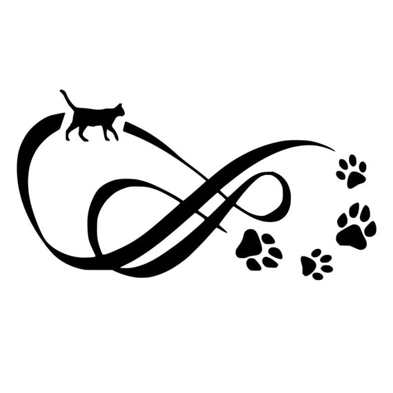 Memorial Tattoo Infinity Paw Print: Cat Infinity With Paw Prints Die-Cut Decal Car Window Wall