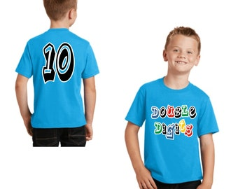Youth Shirt, Double Digits Design, Birthday Shirt