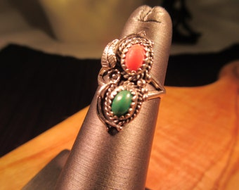 Tribal Sterling Silver Coral & Green Turquoise Ring - 4