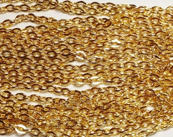 10M Gold Plated Chain - Cable Chain In Bulk - 3x2.5mm - Wholesale Chain - Jewelry Chain - Jewelry Supplies - B05599