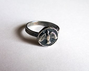 Holy Spirit Ring/ Silver Dove Ring/ Christian Ring/ Peace Ring/ Unique Christian Jewelry/ Faith Ring/ Christian Dove Ring/ Silver Bird Ring