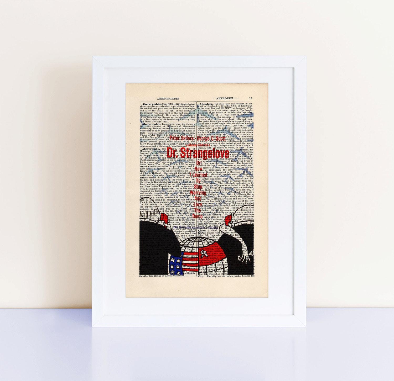 Dr. Strangelove Movie Poster Print On A Vintage Encyclopedia