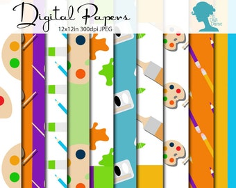 Art Supplies Digital Scrapbooking Paper Pack, Buy 2 Get 1 FREE. Instant Download