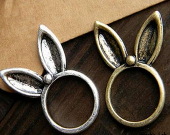 Ring with Silver and bronze rabbit ears