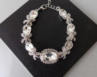 Silver Crystal Floral Bridal Wedding Bracelet
