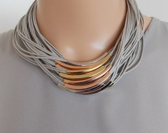 Grey Multi-Cord Statement Necklace -UK SELLER
