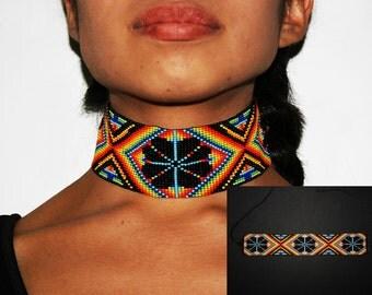 Peyote Choker, Huichol Necklace, Native Choker, Peyote Necklace, Native American Choker Necklace, Huichol Beadwork, Tribal Fashion Jewelry