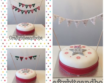 Cake bunting, Christmas, weddings, christenings, birthday, baby shower, special occasion