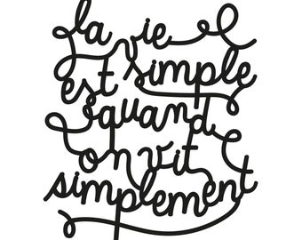 Lettering cut in plexiglas® to hang - La vie est simple