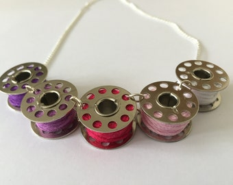 Pink Sewing Bobbin Necklace