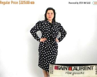 Summer SALE 80s YSL  Rive Gauche 80s Black White Polka Dot Dress    Saint Laurent Paris   Medium