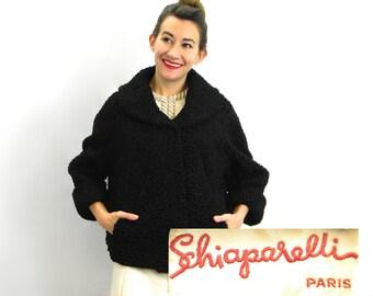 40s Elsa Schiaparelli Black Persian Lamb Coat | Schiaparelli Paris Fur Jacket  |   Large