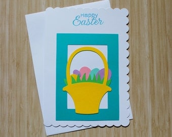 Happy Easter Card - Easter Basket with Eggs - Colorful Spring Card - Envelope Included