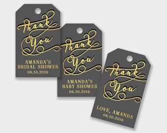 Thank You Gift Tags, Favor Tags, Customized - Graphite and Gold - Birthday Party, Wedding, Anniversary, Showers - Printable PDF