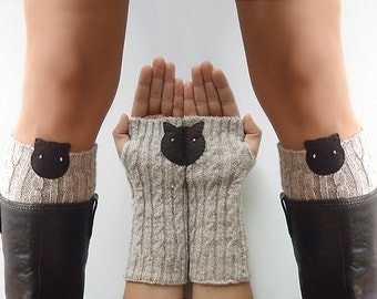 VALENTINE'S Day GIFT, EXPRESS Shipping, Boot Cuffs, Cat Armwarmers, Cat Gloves, Arm Warmers, Gift For Her, Cat Lovers, Kitty Boot Cuffs